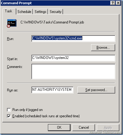 Migrate scheduled tasks from 2003 to 2008 | Path of YeahManager